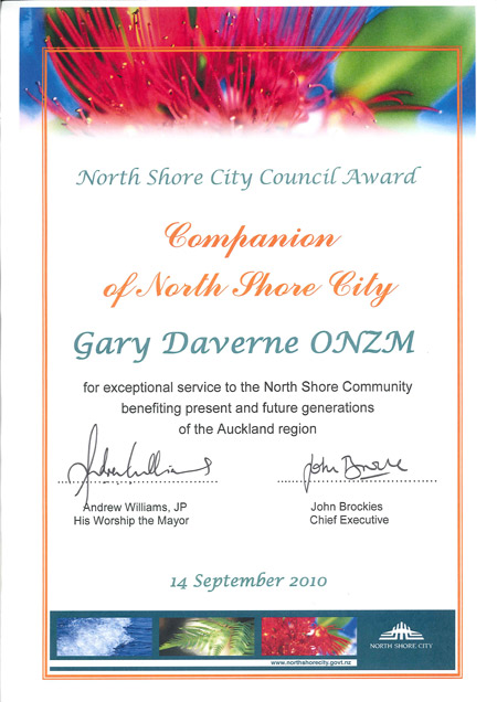 Companion of North Shore City certificate